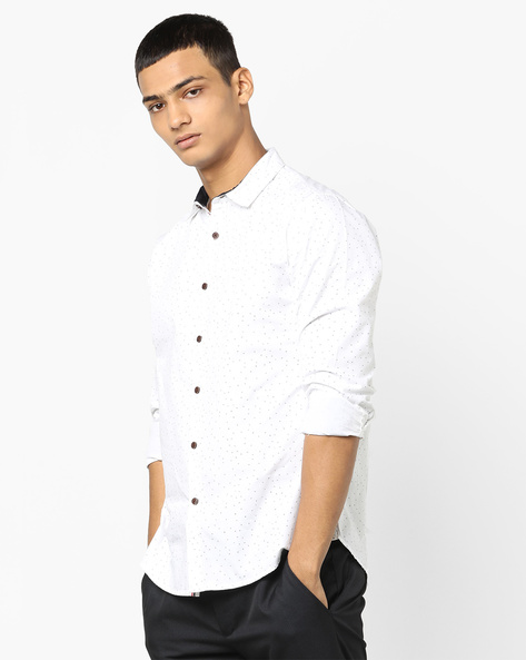 Geometric Print Slim Fit Shirt By AJIO ( White )