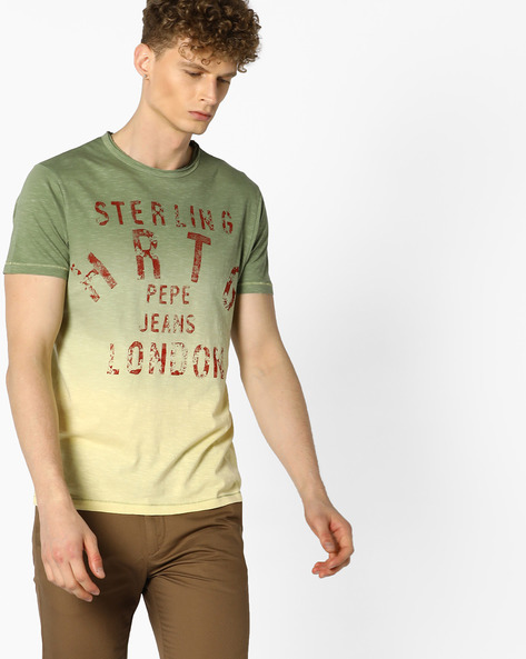 Printed Slim Fit T-shirt By Pepe Jeans ( Olive )