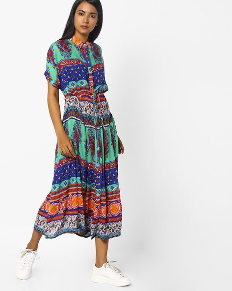 Printed Midi Dress With Extended Sleeves By COLOUR ME ( Green )