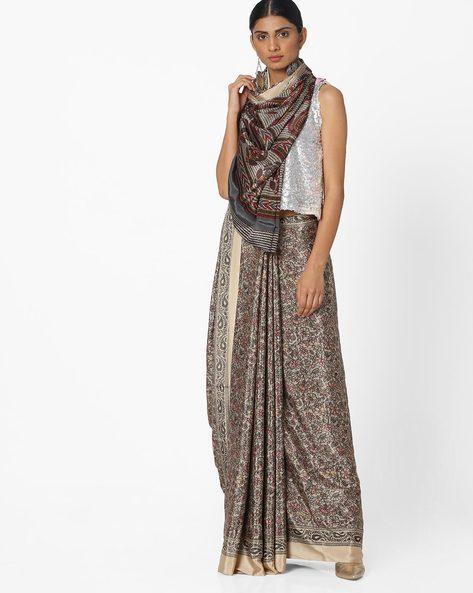 Printed Crepe Saree By Majestic Silk ( Brown )