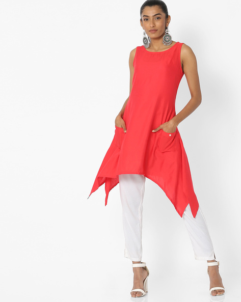 Sleeveless A-line Kurta With Dipped Hemline By FUSION ( Coral )