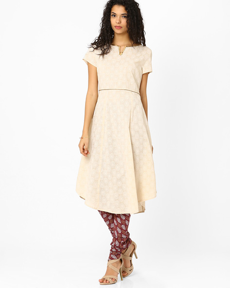 Printed Empire-Line Kurta By AJIO ( Beige )