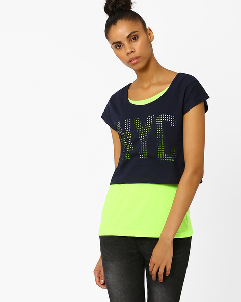 Twofer Top With Cut-Outs By TEAM SPIRIT ( Lime )