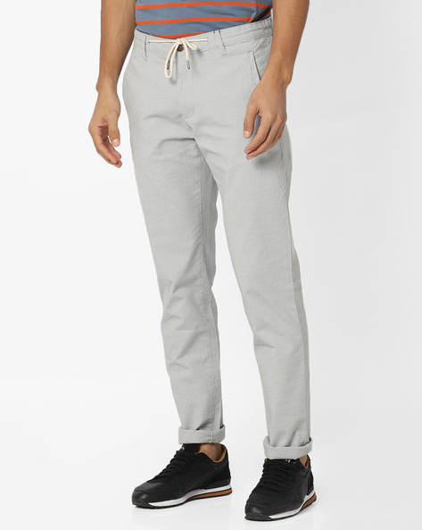 Flat-Front Trousers With Drawstring Waist By AJIO ( Grey )