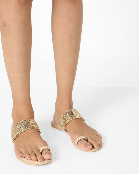 Embellished Flat Sandals By AJIO ( Gold )