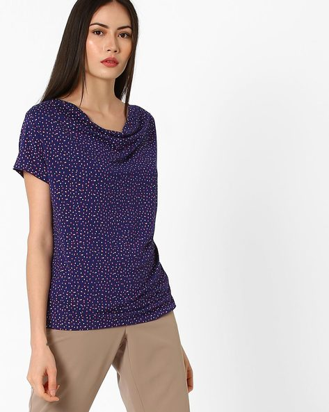 Ditsy Print Top With Cowl Neck By AJIO ( Navyblue )