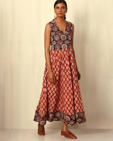 Bagru Handblock Print Cotton Maxi Dress By Indie Picks ( Maroon )
