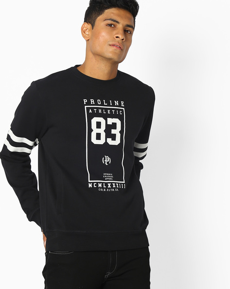 Graphic Print Crew-Neck Sweatshirt By PROLINE ( Black )