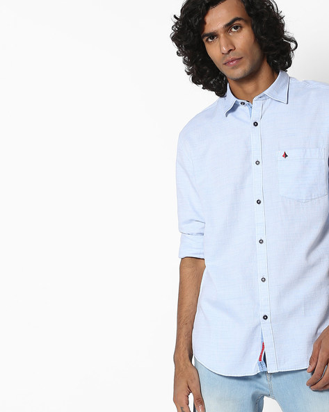 Textured Slim Fit Shirt With Patch Pocket By British Club ( Blue )