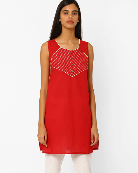 Sleeveless Pure Cotton Kurta By AURELIA ( Red )