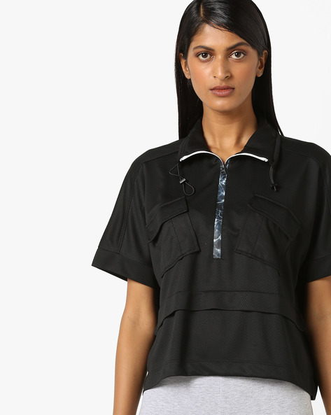 Textured Top With Flap Pockets By Teamspirit ( Black )
