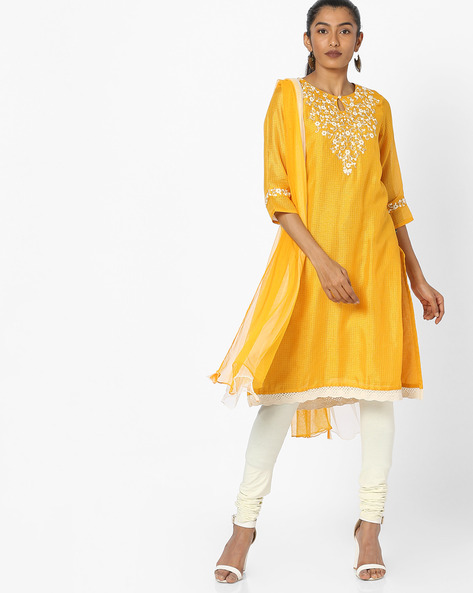Embroidered Kurta With Dupatta By AVAASA SET ( Yellow )
