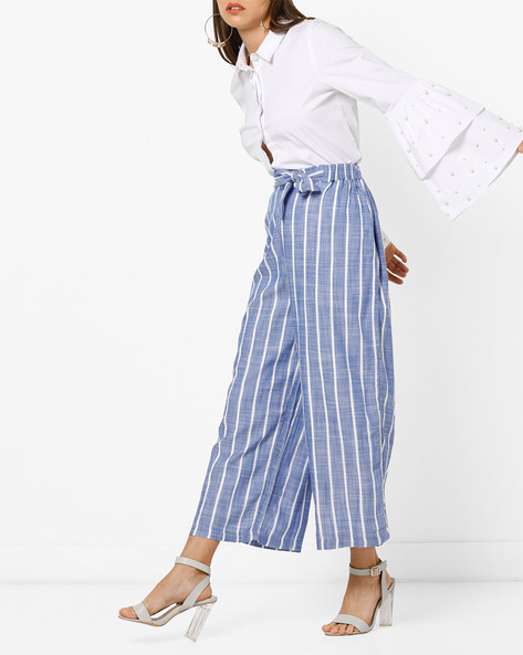 Ankle-Length Trousers With Tie-Up By Only ( Blue )