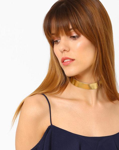 Glossy Choker Necklace By Ayesha ( Gold )