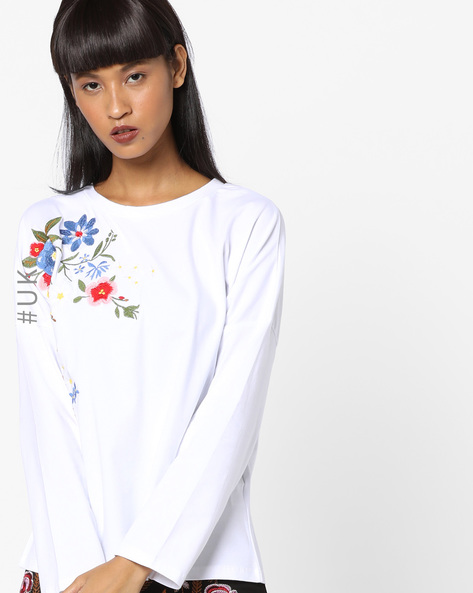 Drop-Sleeve Top With Floral Embroidery By OEUVRE ( Beige )