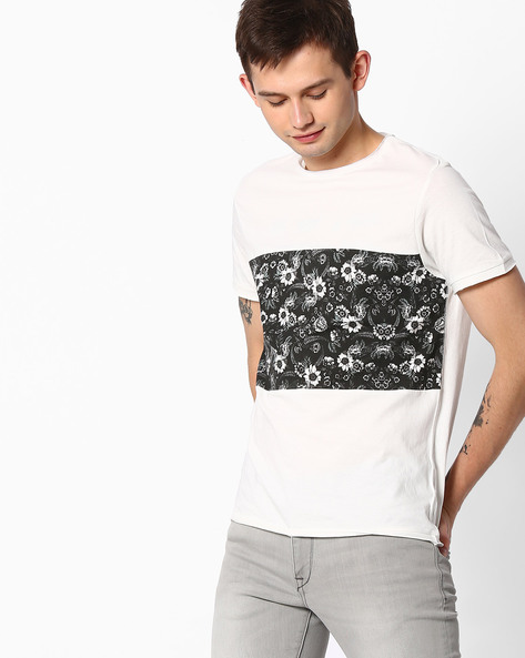Colourblock Crew-Neck T-shirt By AJIO ( White )