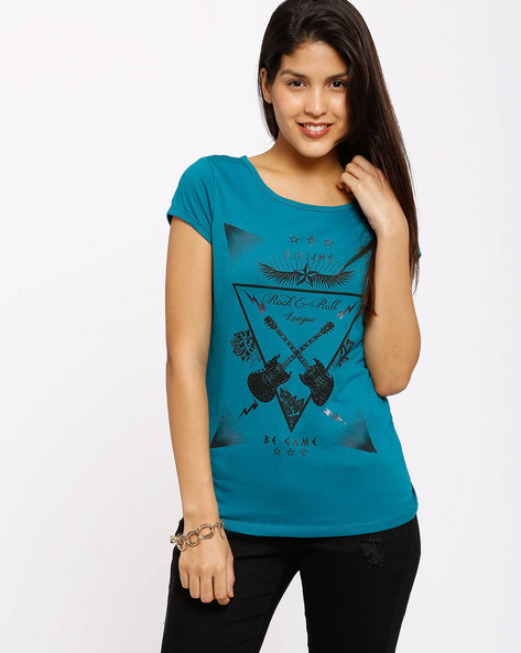 Printed T-Shirt By SF Jeans By Pantaloons ( Teal )