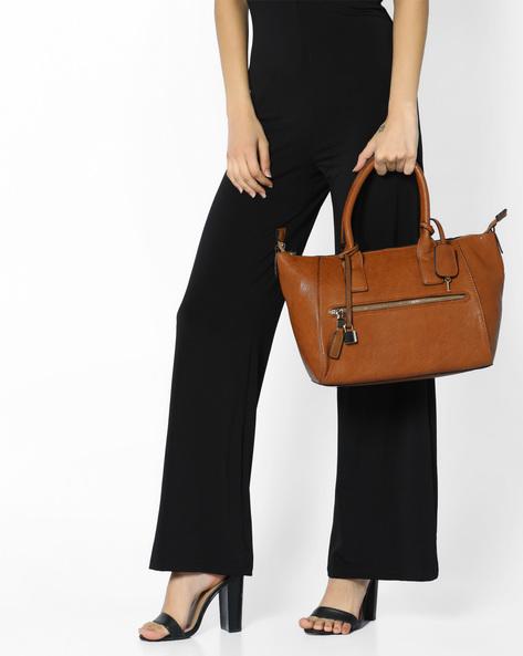Handbag With Metal Accents By FUR JADEN ( Tan )