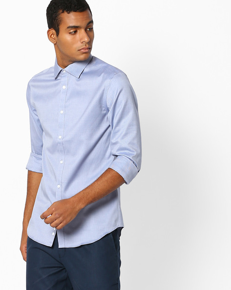 Slim Fit Shirt With Curved Hem By Celio ( Darkblue )