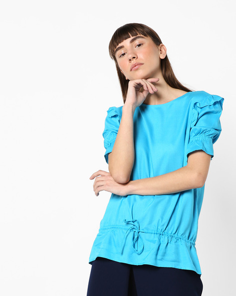 Blouson Top With Ruffled Sleeves By AJIO ( Blue )