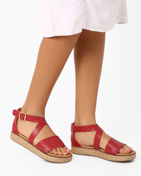 Espadrille Sandals With Criss-Cross Straps By AJIO ( Red )