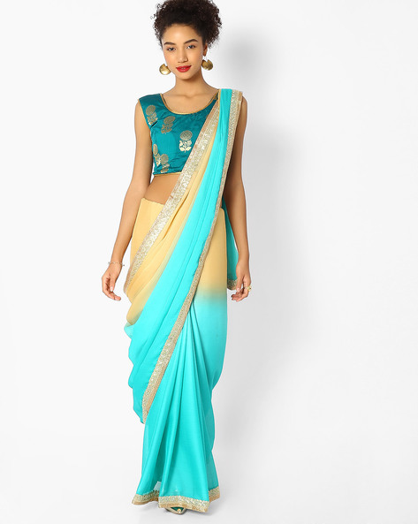 Colourblock Saree With Embroidered Border By Majestic Silk ( Green )