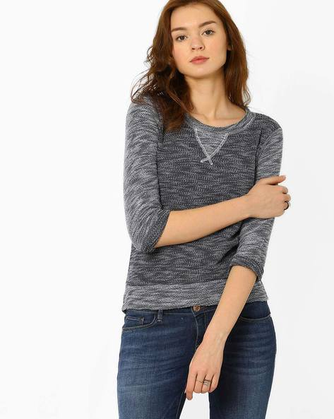 Knit Top With High-Low Hemline By Teamspirit ( Blue )