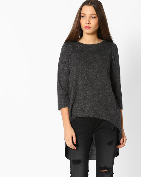 Top With High-Low Hemline By Ginger By Lifestyle ( Black )