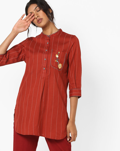 Striped Tunic With Placement Embroidery By AJIO ( Rust )