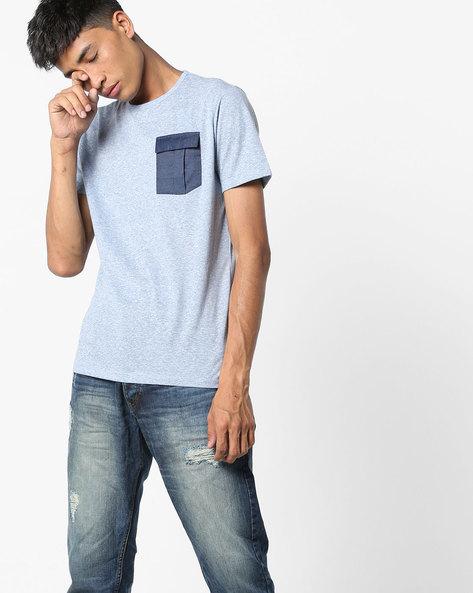 Crew-Neck T-Shirt With Flap Pocket By AJIO ( Grey )