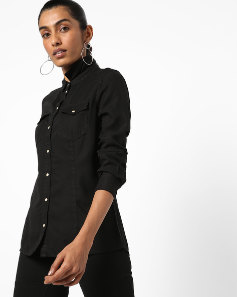 Shirt With Flap Pockets By Vero Moda ( Black )