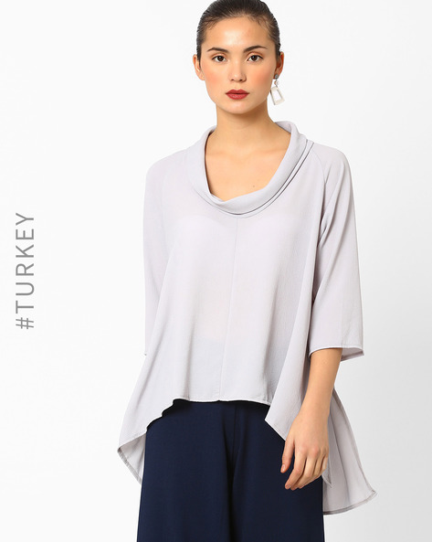 High-Low Hem Cowl Neck Top By Closet London ( Grey )