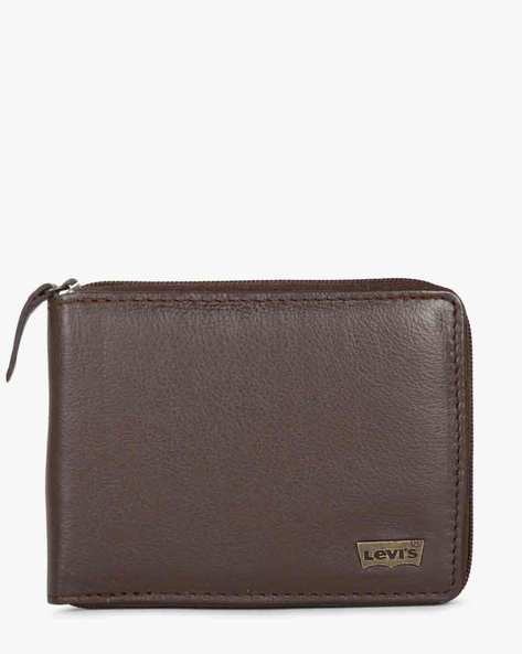 Textured Leather Wallet With Zip Closure By LEVIS ( Brown )