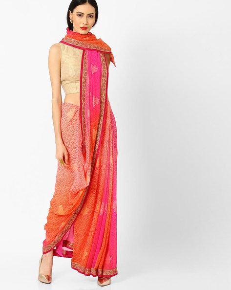 Printed Saree With Lace Border By Arissa ( Peach )