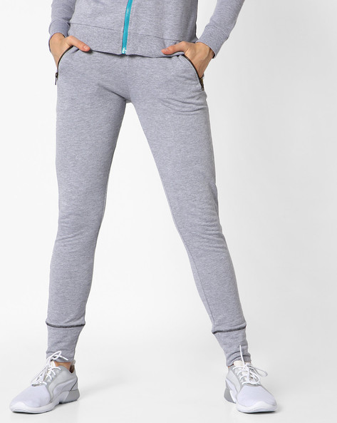 French Terry Track Pants With Drawstring Fastening By AJIO ( Greymelange )