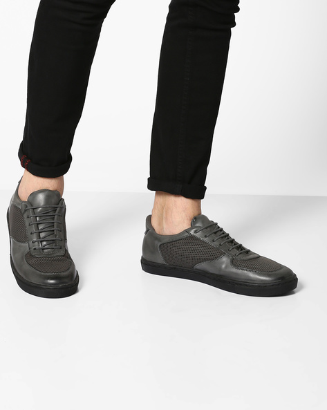 Lace-Up Sneakers With Mesh Panel By TURN ( Grey )