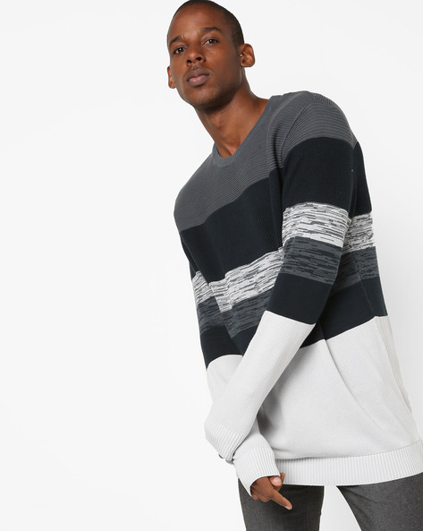 Slim Fit Striped Pullover By FLYING MACHINE ( Assorted )