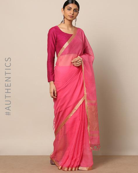 Handloom Pure Silk Cotton Saree With Zari Border By Indie Picks ( Pink ) - 460176816001