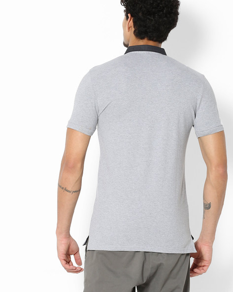 Polo T-shirt With Contrast Collar By UNITED COLORS OF BENETTON ( Greymelange )