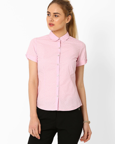 Printed Poplin Shirt By Annabelle By Pantaloons ( Lightpink )