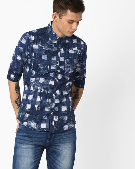 Printed Shirt With Patch Pockets By AJIO ( Blue )
