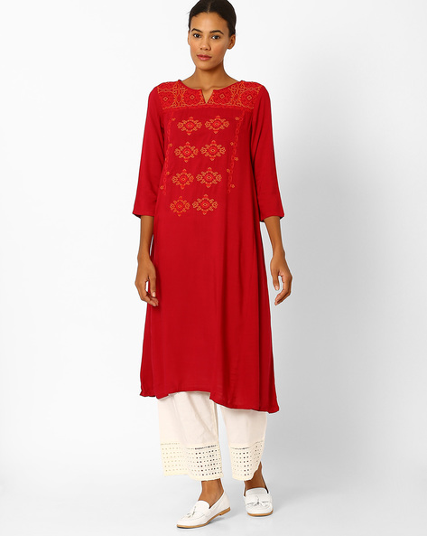 Flared Kurta With Embroidery By Global Desi ( Red )