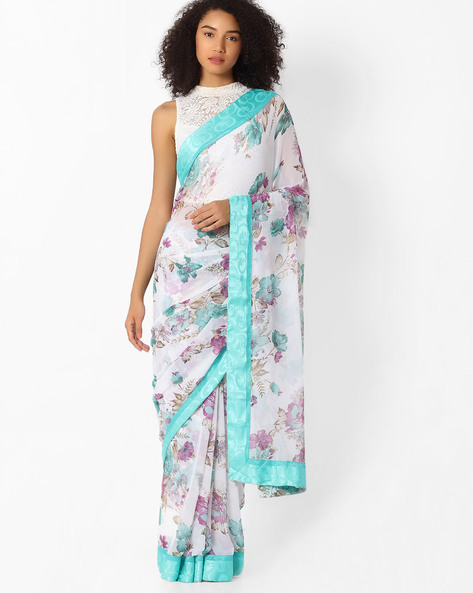 Floral Print Saree With Lace Border By VIPUL ( Green )