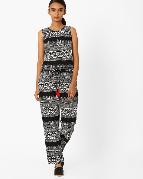 Printed Sleeveless Jumpsuit By Jiyaa ( Black )