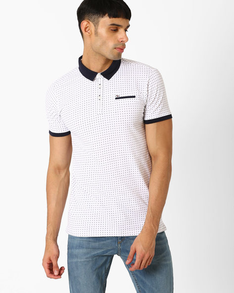 Micro Print Slim Polo T-shirt By SPYKAR ( White )