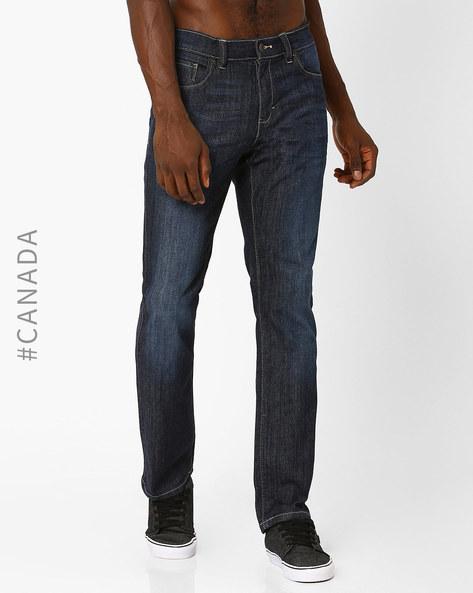 Slim Fit Lightly Washed Jeans By Point Zero ( Indigo )