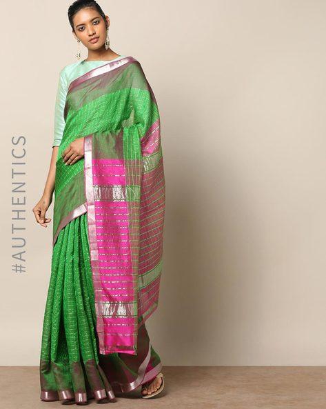 Handloom Mangalagiri Checked Cotton Silk Saree By Indie Picks ( Green )