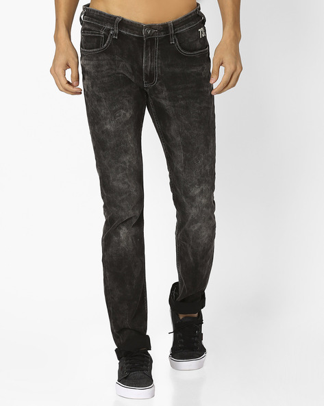 Acid-Washed Skinny Jeans By Pepe Jeans ( Black )
