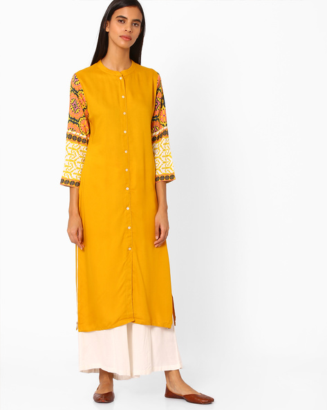 Straight Kurta With Contrast Printed Sleeves By Indian Ink ( Brown )