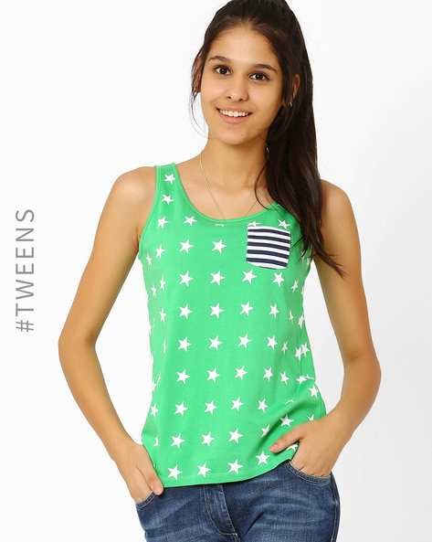 Printed T-shirt With Patch Pocket By AJIO Girl ( Green )